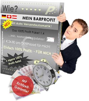 """Mit und über diese professionelle 18.000 EURO schwere 100% Profit-Verkaufsseite und das hierzu im Paket erhältliche """"Marketing E-Book"""" MEIN BARPROFIT der ganz besonderen Art, zum Thema Erfolg mit dem 100% Profit-Paket und wichtigen weiterführenden Links zum Thema Werbung im Internet, hat diese weltweit einzigartige Verkaufsseite für zahllose Internetnutzer ein unschlagbares """"100% Profit Angebot"""" im Ärmel. Daher das, was sich Jedermann/Frau wünscht."""